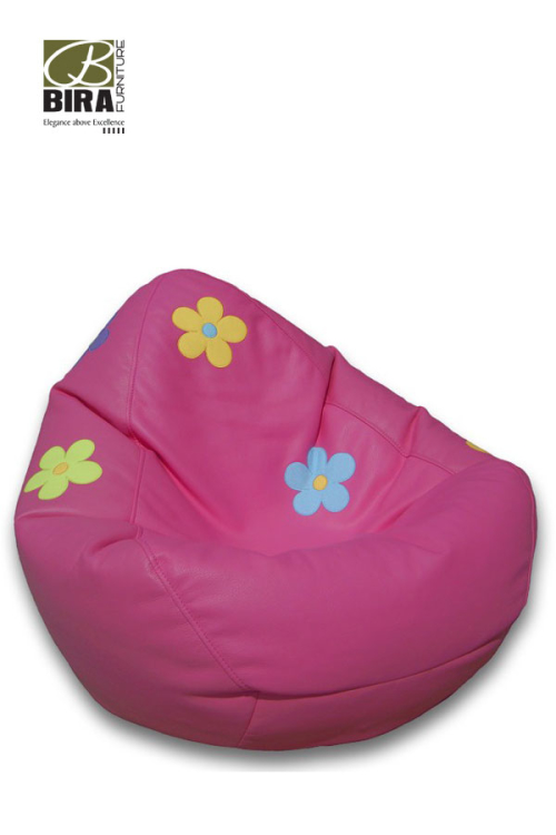 Jumbo-Hot-Pink-Girls-Bean-Bag-with-Flowers